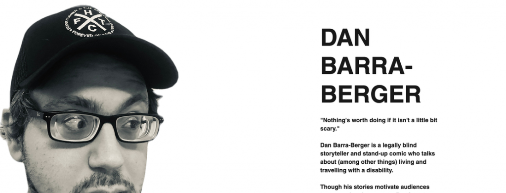 """Screenshot of the main page at danbarraberger.com. It reads """"Dan Barra-Berger"""" in large text next to a black-and-white image of Dan's face."""